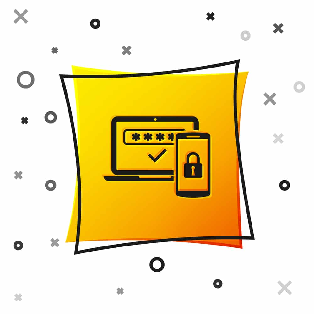 Multi factor authentication icon isolated on white background with yellow square