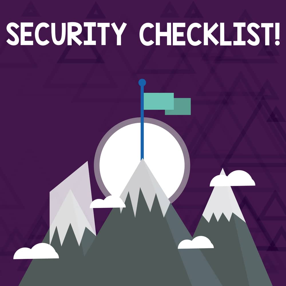 Security Checklist Concept with mountains and flag at the peak